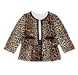 Loalirando Cárdigan de tweed para niña, chaqueta de punto + minifalda de princesa, vestido de otoño/invierno leopardo 3-4 Años