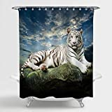 MitoVilla White Tiger Shower Curtain for Animal Themed Bathroom Decor, Majestic Tiger Resting on a Rock with Cloudy Sky Background Bathroom Accessories, Animal Lover Gifts, 72' W x 72' L