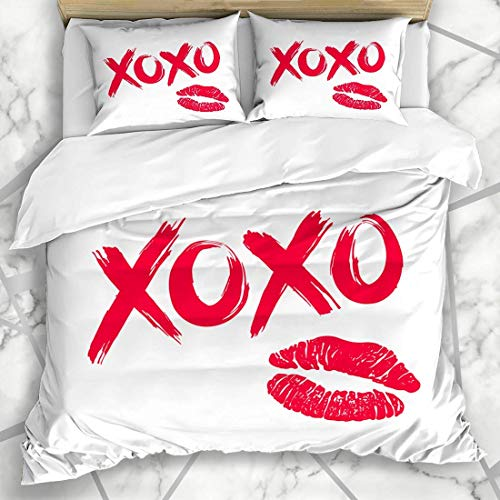 Qoqon Duvet Cover Sets Expression Red Love XOXO Hugs Kisses Brush Lettering Lipstick Script Kiss Pink Sketch Valentine Hand Microfiber Bedding with 2 Pillow Shams