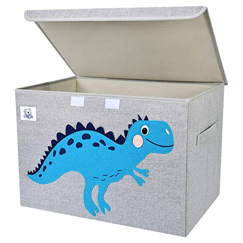 CLCROBD Foldable Large Kids Toy Chest with Flip-Top Lid, Collapsible Fabric Animal Toy Storage Organizer/Bin/Box/Basket/Trunk for Toddler, Children and Baby Nursery (Dinosaur)