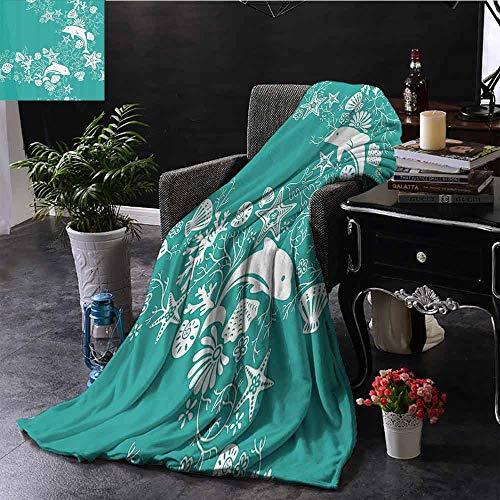 GGACEN Manta con impresión Digital de Delfines, Flores, diseño Floral, Estrella de mar, Coral y Conchas, Manta cálida para otoño e Invierno, 152 x 152 cm