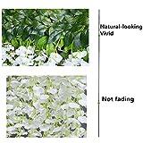 YQing Kunstblumen, künstliche Glyzinien, Heimdekoration, jeder Strang ist 110 cm lang, aus Seide, für Hochzeiten, zu Hause, Garten, Party, 12 Stück (weiß) - 6