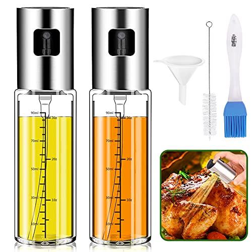 Pulverizador Aceite, Splasks 2 PCSAceitera Antigoteo Dispensador Aceite Spray Aceite Cocina, Tapa de Inoxidable Botella de Vidrio con Cepillo de Limpieza, Embudo y Brocha para Ensalada,Hornear,BBQ