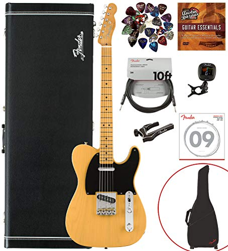 Fender Vintera '50s Telecaster Modified, Maple, Butterscotch Bundle w/Case, Gig Bag, Cable, Tuner, Strap, Strings, Picks, Capo, Fender Play, and Austin Bazaar Instructional DVD