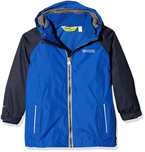 Regatta Waterproof Luca IV Kids' Outdoor Hooded Jacket available in SurfSpry/Nav - Size 7-8