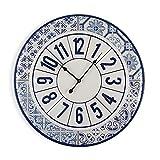 Versa Dingli Reloj de Pared Silencioso Decorativo para la Cocina, el Salón, el Comedor o la Habitación, Medidas (Al x L x An) 60 x 4 x 60 cm, Metal, Color Azul y blanco