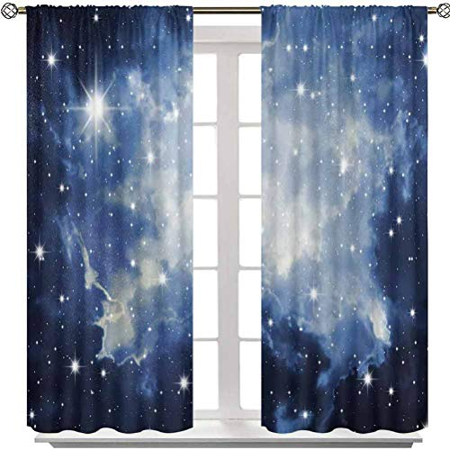 Aishare Store Blackout Curtain, Blue Galaxies in Night Sky Celestial Image Stars Fog Magical, W42 x L72 Energy Saving Window Drapes for Living Room(2 Panels)