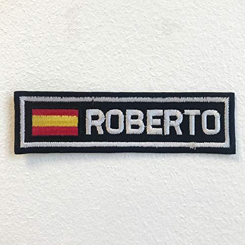 Parche bordado con la bandera de España con insignia de Roberto para planchar o coser