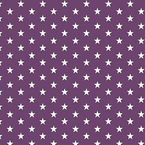 babrause® Baumwollstoff Sternchen Violett Webware Meterware Popeline OEKOTEX 150cm breit - Ab 0,5 Meter