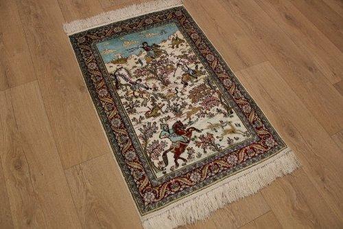 ETFA Teppiche Orient Teppich Jagdmuster Seidenteppich 92x62 cm