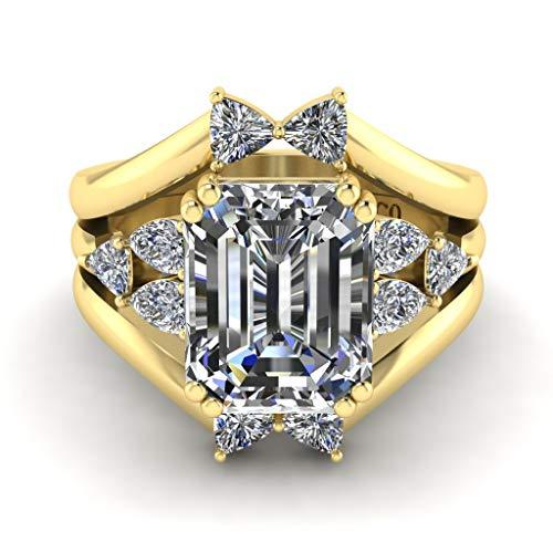 Jbr - Juego de 3 anillos de compromiso de plata de ley con diamante blanco para mujer