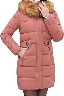 maweisong レディース冬ロングコートフェイクファーフードダウンジャケット暖かいパーカアウトウェア