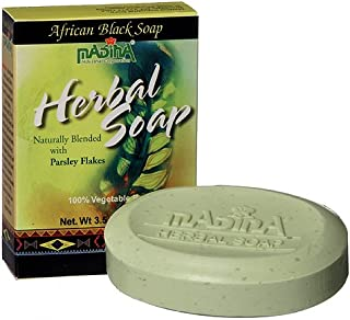 Madina Herbal African Black Soap with Parsley Flakes 3.5 Ozx6