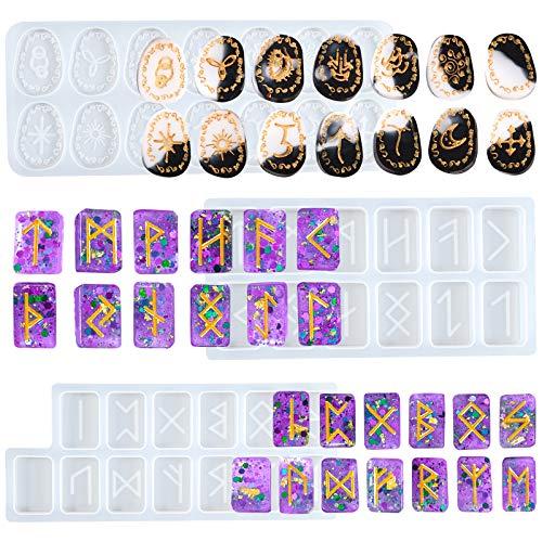 Witch Runes Stone Silicone Mold Epoxy Resin Casting Silicone Molds Witchcraft Jewelry Casting Set 39-Cavity
