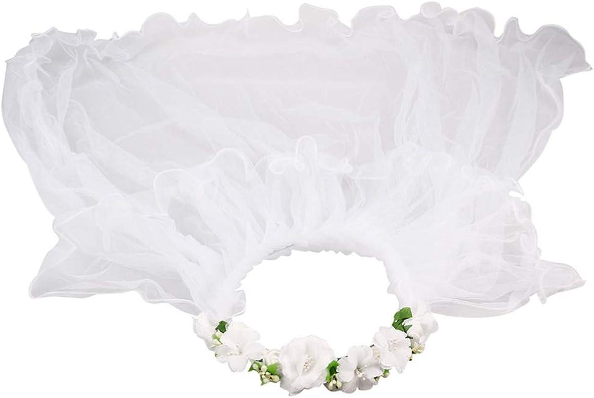 KESYOO Wedding White Wreath Veil Flower Girls Veil Party Headband Hair Wreath Veil for Kids