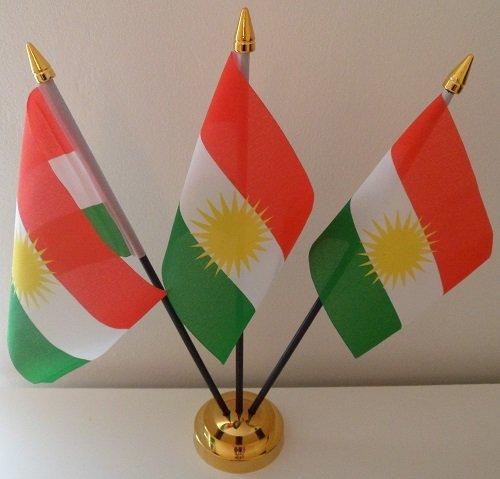 Kurdistan Koerden 3 Vlag Desktop Tafeldisplay Met Gouden Basis