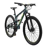 BIKESTAR Bicicleta de montaña de Aluminio Suspensión Doble Completa 27.5 Pulgadas | Cuadro 16.5 Cambio Shimano de 21 velocidades, Freno de Disco, Fully MTB | Verde
