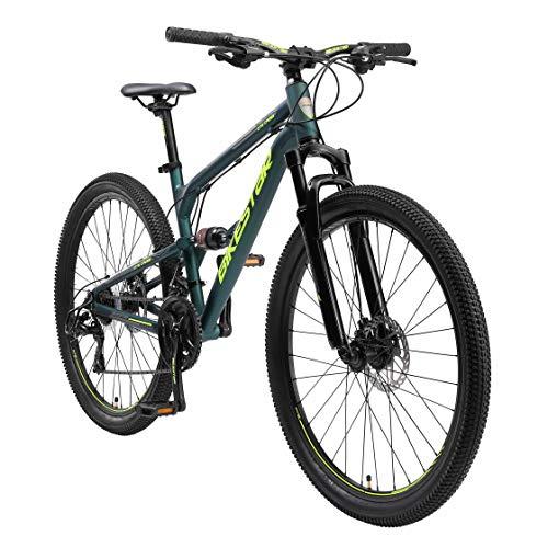 BIKESTAR Fully Aluminium Mountainbike Shimano 21 Gang Schaltung, Scheibenbremse 27.5 Zoll Reifen | 16.5 Zoll Rahmen Alu MTB Vollgefedert | Grün