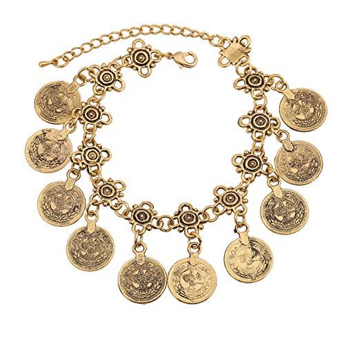 Zmnbaa Boho Münzarmband Antik Gold Silber Bettelarmband Bohemia Statement Damenschmuck
