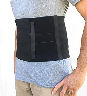 Alpha Medical Abdominal Binder Support Wrap/Surgical Binder/Hernia Support/Abdominal Hernia Reduction Device (Standard Length; Black; 10