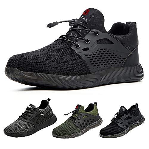 SUADEEX Sicherheitsschuhe Herren s3 Arbeitsschuhe Damen Leicht Atmungsaktiv Schutzschuhe mit Stahlkappe Sportlich Schuhe,02-Schwarz,42 EU