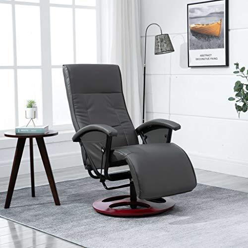 UnfadeMemory Relax Sillón Giratorio para TV de Salon con Respaldo Multi-Ajustable,Silla de Relax,Decoración de Hogar Habitación,Cuero Artificial (Gris)