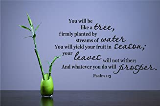 You will be like a tree, firmly planted by streams of water You will yield your fruit in season; your leaves will not wither; And whatever you do will prosper. Psalm 1:3 Vinyl Wall Decals Quotes Sayings Words Art Decor Lettering Vinyl Wall Art Inspirational Uplifting
