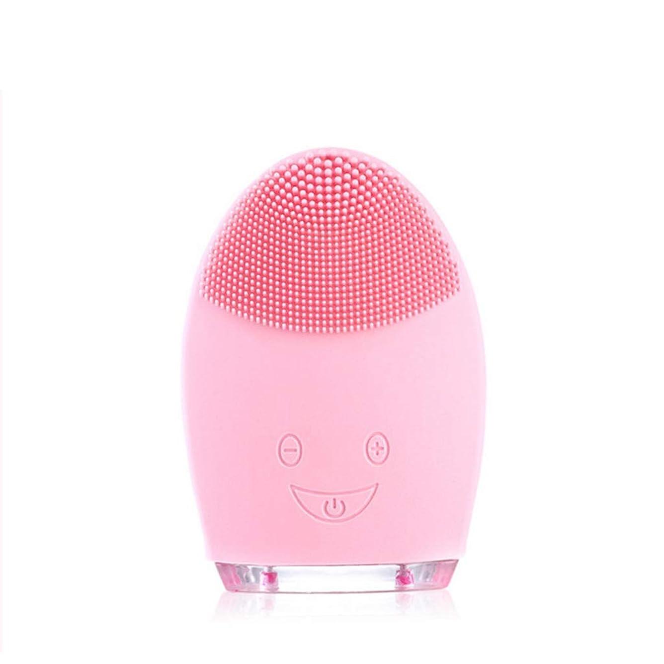 脈拍スパン少ないソニッククレンジングブラシマッサージャー、防水シリコーンクレンザーディープクレンジングスキンケア電気クレンザー、充電式電動シリコーン剥離クレンジングブラシ (Color : Pink)