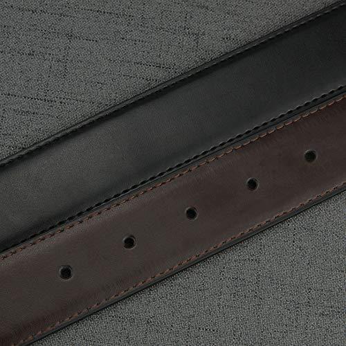 KGLOPYE Gürtel 3,3 cm breit, schwarzer Gürtel ohne Schnalle, Kaffee, 115 cm