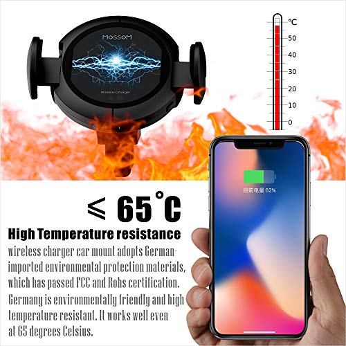 Wireless Car Charger - 15W Fast Charger Car Mount,Qi Car Charger Holder for Iphone x 8/8Plus Samsung Galaxy S8/S9/Note.Infrared Motion Sensor Automatic Open and Clamp for Safe Driving (15W Fast)