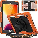 Timecity Hülle für iPad 8 Generation/ 7 Generation & iPad 10,2 Zoll mit bildschirmschutz,Anti Fall hüllen mit handschlaufe Schultergurt Ständer Ständer Stoßfest staubdicht Haltbarkeit-Orange