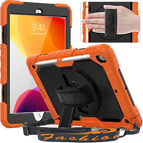 Timecity New iPad 7th Generation Case (iPad 10.2 Case 2019) with Screen Protector Pencil Holder Rotating Kickstand Hand/Shoulder Strap.Rugged Durable Protective Cover for iPad 10.2 inch-Black+Orange
