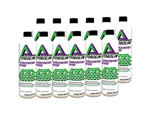 Tobolin Horizontalsperre 12 x 500 mL+ 12 x Injektionsaufsatz ~ 4 Flaschen/Meter – Verkieselungsmittel zur Mauerwerkstrockenlegung & Horizontalsperre - hocheffektiv gegen aufsteigende Feuchtigkeit