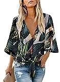 FIYOTE Oberteile Damen Bluse Elegant Hemdbluse Button Down Shirts Lose Casual Langarm Tunika Tops mit Brusttaschen bunt S