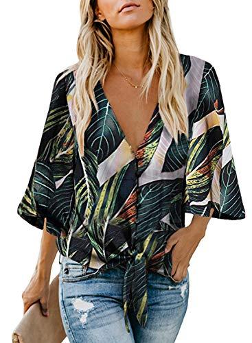 FIYOTE Oberteile Damen Bluse Elegant Hemdbluse Button Down Shirts Lose Casual Langarm Tunika Tops mit Brusttaschen bunt M