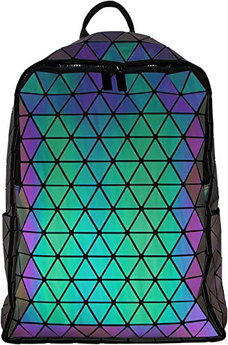 Geometric Backpack Luminous Backpacks Holographic Reflective Bag Lumikay Bags Irredescent Purple Luminous (Purple Luminous)