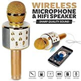SMILEWAYS ENTERPRISES WS-858 Wireless Portable Handheld Singing Machine Condenser Microphone Mic with Bluetooth Speaker for Audio Recording (Assorted Colour)