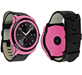 Skinomi Pink Carbon Fiber Full Body Skin Compatible with LG G Watch R (Full Coverage) TechSkin with Anti-Bubble Clear Film Screen Protector