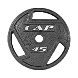 CAP Barbell 2-Inch Olympic Grip Weight Plates, Single, Black, 45 Pound