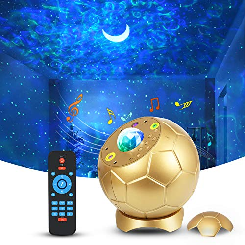 LED Sternenhimmel Projektor,Fußballform Nachtlicht Sternenhimmel mit Fernbedienung,65 Lichteffekte Sternenlicht Mond,Nebula Lichtprojektor mit Klangkontrolliert/Bluetooth,Sternennachtlicht für Kinder
