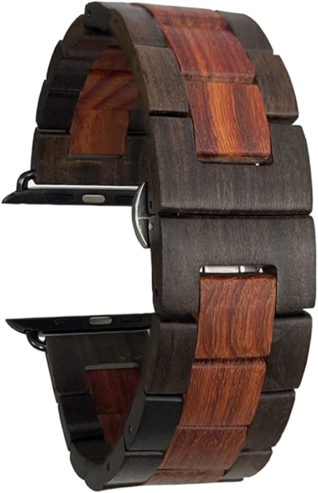 EdwardKwok Wooden Watch Band for Apple Watch 42/44 MM 100% Eco-Friendly Natural Hardwood Watch Strap ,Bracelet for Apple Watch SE, Apple Watch Series 6/5/4/3/2/1