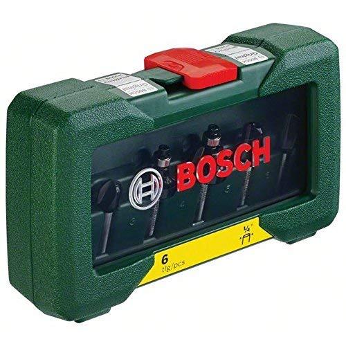 Bosch 6-delige HM-freesset, 1/4 inch schacht, in kunststof doos, 2607019462