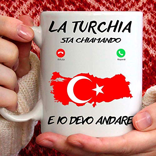 Taza turca apta para desayuno, té, tisana, café, capuchino. Gadget Taza la Turquía Mi Sta llamando y yo debo Andare. Idea de regalo original