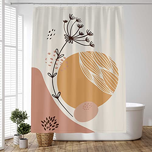 D&M Abstract Shower Curtain Modern, Boho Minimalist Mid Century Shower Curtain for Bathroom Bathtub, Art Aesthetic Shower Curtain Fabric Polyester Flower, 60x72 inches with 12 Hooks