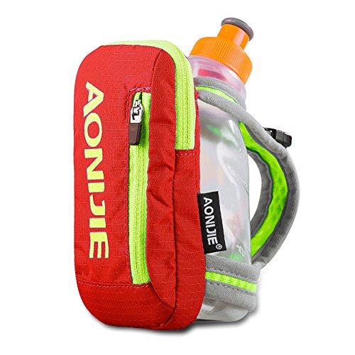 Sywwlov Outdoor Running Belt Handheld Hydration Pack with 8.5oz BPA Free Sport Water Bottle for Travel Hiking (Orange)