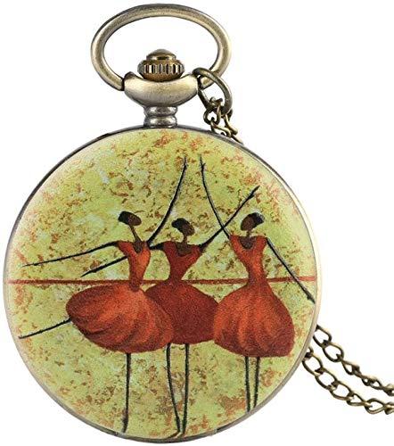 N / A Reloj de Bolsillo, Tres de Ballet Bailarines Reloj de Bolsillo Collar Retro de Cuarzo Colgante de Cadena de joyería Regalos para Las Chicas del Ballet del bailarín de coleccionables