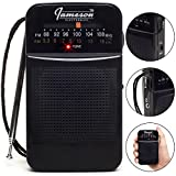 AM // FM Portable Pocket Radio with Best Reception - Small Battery Operated Transistor, Built-in Speaker, 3.5mm Headphone Jack - Powered by AA Batteries (Black)