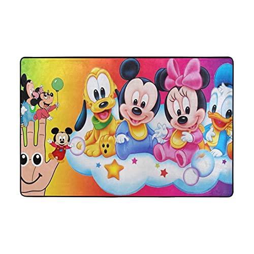 Alfombra de Mickey Mouse Minnie Donald Duck Goofy adecuada para sala de estar, dormitorio, área de los niños, decoración de la casa de arte suave y cómoda, 72 x 48 pulgadas