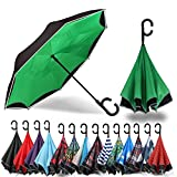 Siepasa Auto Open Reverse Umbrella, Umbrella Windproof, Inverted Umbrella, Umbrellas for Women with UV Protection, Upside Down Umbrella with Safe Reflective Stripe (Green, Auto)