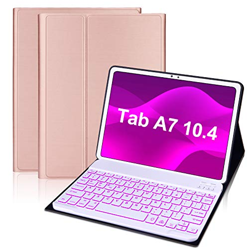 IVEOPPE Funda con Teclado Compatible con Samsung Galaxy Tab A7 10.4' 2020 SM-T500/T505/T507, 7 Colores con Retroiluminación Teclado Bluetooth Desmontable Funda Inteligente Magnética (Oro Rosa)